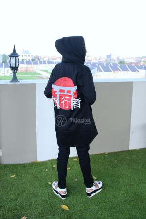 JAKET MUSLIMAH HIJAB  JAPAN BLACK HIJACKET