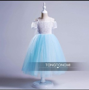 DRESS ANAK TONGMI 6 ELSA FROZEN BLUE + SAYAP