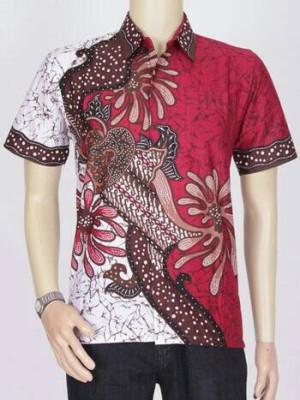 Jual kemeja batik blok  kemeja batik modern warna merah  grosir