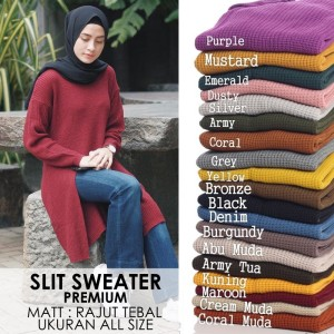 Slit Sweater Rajut Tebal