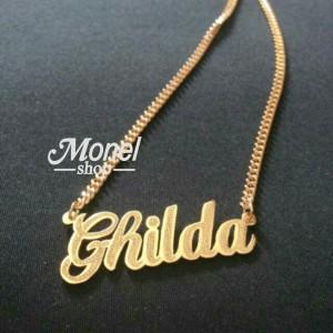Kalung ukir nama lapis emas grafir pasir perhiasan Custom nama