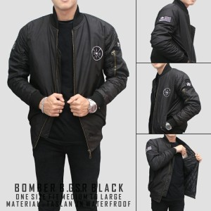 Jaket Bomber Premium B.G.S.R Bordir - Hitam