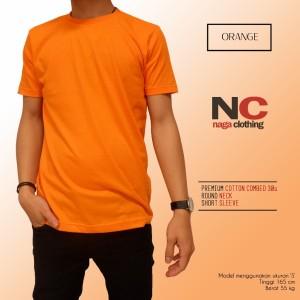 Kaos Polos Oranye 1000% Cotton Combed 30s Reaktif
