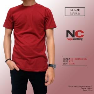 Kaos Polos Merah Marun 1000% Cotton Combed 30s Reaktif BERGARANSI
