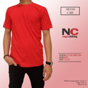 Kaos Polos Merah Cabe 1000% Cotton Combed 30s Reaktif