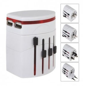 Universal Travel Adapter 4 in 1 EU UK USA Plug with 1A USB Port