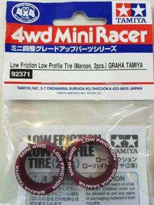 Tamiya #92371 Low Friction Low Profile Tire (Maroon, 2pcs)Graha Tamiya