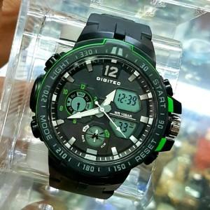 Jam Tangan Pria Digitec 3043 TMLG Original dual time-rubber-Strap