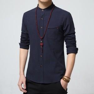 Hem Kemeja Pria Lengan Panjang Super Keren, Zyan Style Navy Dongker