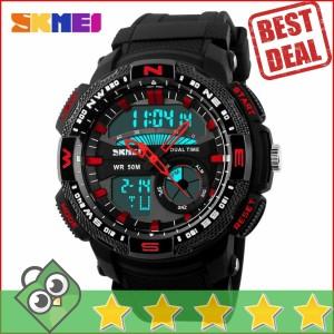 Jam Tangan Pria Dual Time SKMEI Casio Men Sport LED Original AD1109