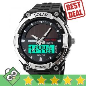 Jam Tangan Pria Dual Time SKMEI Solar Power Original AD1049E
