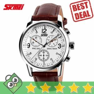 Jam Tangan Pria Analog SKMEI Casual Leather Original 9070CL Putih