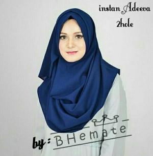 GROSIR Jilbab pasmina instan 2 lubang hijab instan NAVY