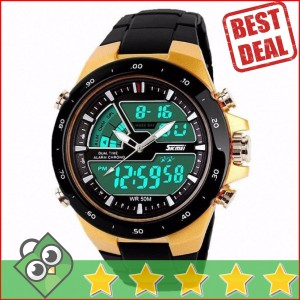 Jam Tangan Pria Dual Time SKMEI Casio Men Original AD1016 Gold