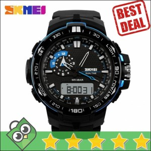 Jam Tangan Pria Dual Time SKMEI Casio Men Sport LED Original AD1081