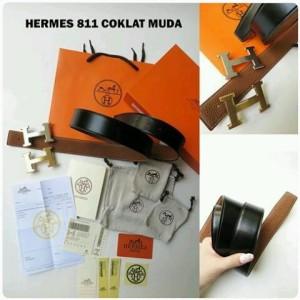 Belt HERMES Coklat Muda Mirror kode 811
