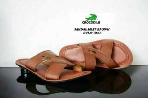 Sandal pria Crocodile Jalit kulit asli casual mewah santai keren