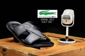 Sandal casual pria Crocodile kulit jahit mewah keren