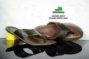 Sandal jepit pria Crocodile bahan kulit asli jahit casual santai