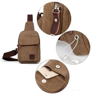 Bodypack Bag BH211 Tas Selempang Pria Kanvas Dengan Lubang Earphone