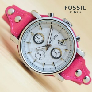 Jam Wanita Fossil Leather Silver
