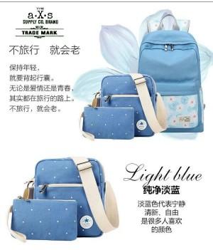 Tas Backpack Dandelion Set of 3 Light Blue
