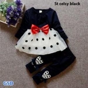 Baju Anak perempuan setelan Celsy Black A-078