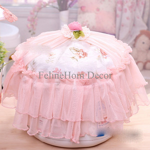 Peach Rose Lace Rice Cooker Cover - Round / Tutup Rice Cooker