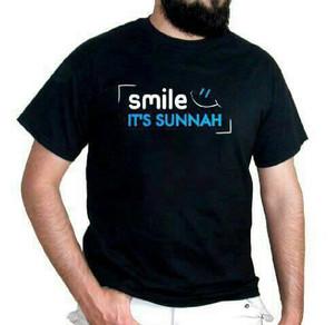 T shirt kaos Cotton Combed 30s Big size xxxl SMILE it's sunnah
