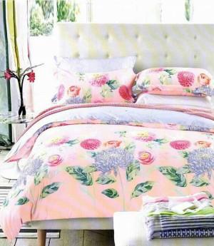Sprei Katun Jepang Ori Motif Bunga Pink Kombinasi Uk.180x200x30 / King