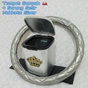 Paket Hemat Cover Setir Kulit CROWN dan Tempat Sampah Kulit Silver