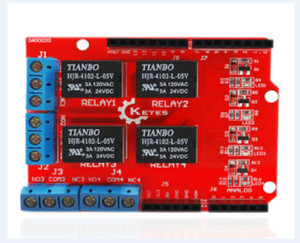 5v 4 channel relay shield red edition for arduino robot