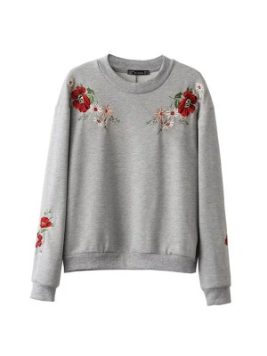WST 17030 Grey Flower Embroidered Sweater