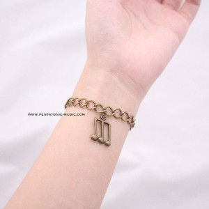 Music Bracelet Bronze - Three Quavers | Gelang motif musik