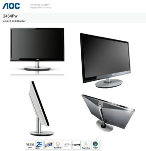 AOC Entertaining 24 Inch LED Monitor | 2434Pw HDMI & FULL HD