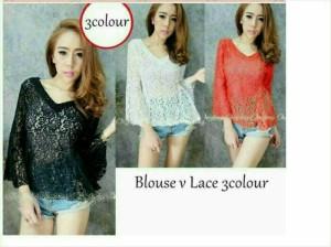 baju blouse TO Blouse V Lace 3 Color
