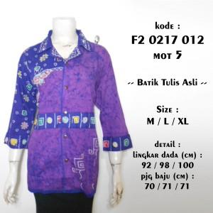 blus batik tulis asli ungu M L XL / blouse atasan etnik 3/4 F20217012