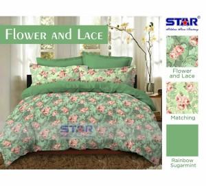 "sprei katun jepang lokal ""star"" uk 180x200cm flower and lace"