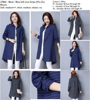 27862 Soft Line Stripe Blouse / Blouse Panjang Biru Abu-Abu 9/3