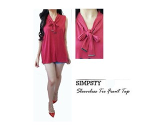 Baju Branded / Simply Styled / Blouse / Tie Neck Shell /Pakaia Wanita/
