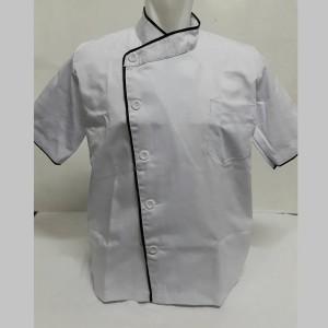 baju chef putih list hitam