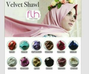 Velvet Shawl Pashmina Satin Premium ori by FLH Muslim Hijab