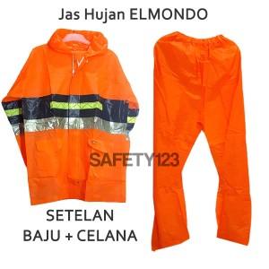 Jas Hujan Elmondo Orange ALL SIZE Setelan Baju Celana Scotlight Murah