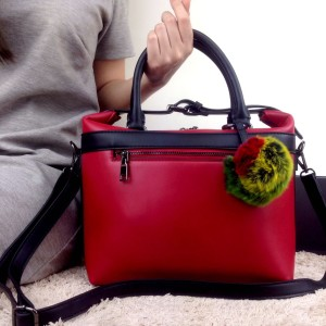 Tas Fashion City Cruiser Rainbow Fur Charm MERAH Semprem 52008