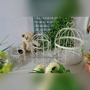 sangkar/birdcage d.10 putih utk hantaran dll, cuwie creation