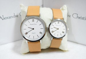 Alexandre Christie AC 8471 Couple Silver White Strap Cream