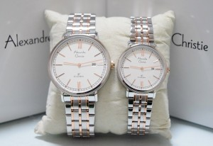Alexandre Christie AC 8509 Couple Silver Rose Gold White
