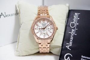 Alexandre Christie AC 2497 Rose Gold White Ladies