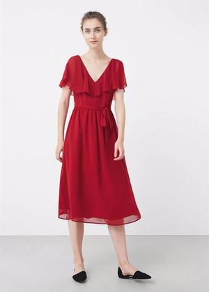Promo Murah Mini Dress Layer Belted Merah Pesta Casual Elegant