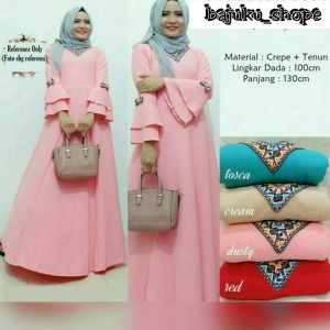 baju gamis / baju muslim / maxi dress / blouse lengan panjang 407